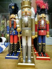 NEW LUXURY CHRISTMAS NUTCRACKER SOLDIERS SET GOLD KING AND TWO GUARDS 62cm