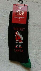 Marks and Spencer Mens Gents Secret Santa One Size Santa`s Christmas Socks Tag