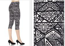 Printed Capri Leggings Black and White Aztec One Size fits 2-16