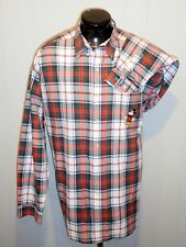 DISNEY STORE MEN'S SHIRT XLG.EMBROIDERED MICKEY PLAID L SLEEVE COTTON POCKET