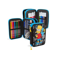 Bart The Simpsons Filled Pencil Case Kids Zip Around School Stationary Set Pens