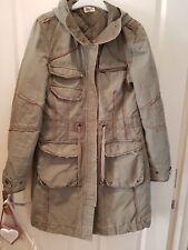 coat size 10. parker. topshop.moto.hooded.khaki.pockets.autumn.winter.warm.
