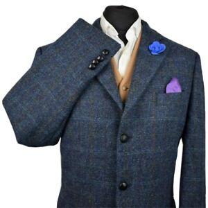 Vtg Harris Tweed Tailored Country Textured Navy Blazer Jacket 46L #971 STUNNING