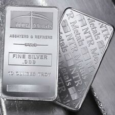 10oz Silver Bar Minted at NTR Metals (99.9% Fine Silver)