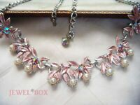 Vintage Pink iridescent Enamel Aurora Borealis Rhinestone Faux Pearl Necklace