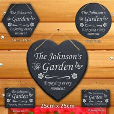 More details for personalised engraved natural slate family garden hanging sign plaque