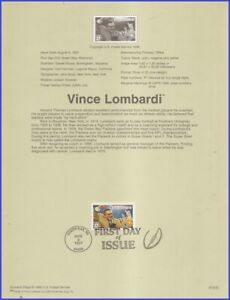 USA5 #3147 U/A SOUVENIR PAGE FDC   Vince Lombardy with red bar