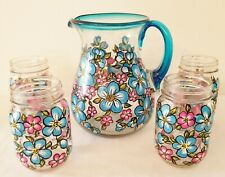 Blue & Pink Flowers Hand Painted Set of 4 Mason Glasses & Pitcher