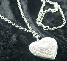 HEART SHAPED LOCKET PENDANT NECKLACE 925 SILVER PLATED VINTAGE LONG CHAIN GIFT