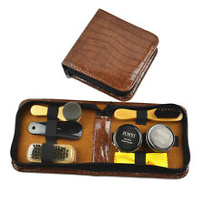 Shoe Shine Care Kit Black & Neutral Polish Brush Set for Boots Shoes Sneakers