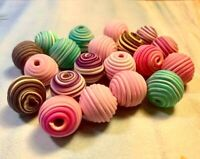 New 25 Sea Horse Beach Polymer Clay Fimo Beads Round Coin 10mm