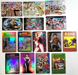 One Piece Fan Made Card LOT of 15 - Holo Foil and Prism and Plastic Type