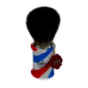 Omega  Red White and Blue Pure Badger Barber Style Shaving Brush DE Cream