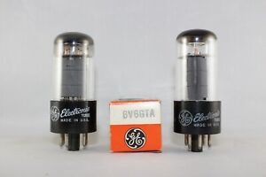 SUPER MATCHED Pair 2 1960s Vintage GE 6V6GTA TEST VERY STRONG 108-110% NEW NOS++