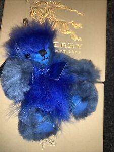 NWT Burberry lamb shearling fur check cashmere teddy bear Keyring, Bag Charm