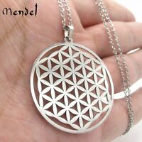 MENDEL Stainless Steel Flower of Life Sacred Geometry Charm Pendant Necklace