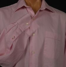 Tommy Bahama LS Shirt Pink Striped Pattern Mens 16 1/2 34 - 35 100% Cotton