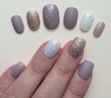 Hand Painted False Nails. ROUND PETITE oval Full Cover Glitter Matte Nude UK