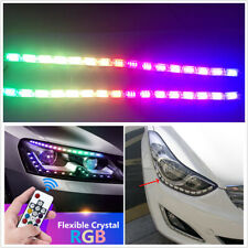 2X50cm LED Car Flexible Crystal DRL Daytime Running Strip Light W/Remote Control