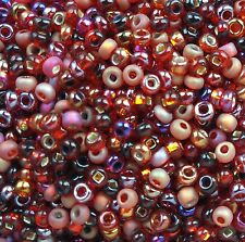 "Czech Glass Seed Beads Size 10/0 "" MIXTURE RUBY "" 50 grams Loose"