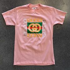 Vintage Bootleg Gucci Logo Print Shirt Light Pink Small 80s 90s New Vtg Peach