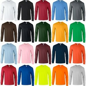 Mens Adult Gildan Ultra Cotton Long Sleeve Rib Cuff Colour Plain T shirt Top