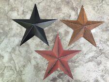 "Set of 3) RUST/BURGUNDY & Satin BLACK BARN STARS 8"" PRIMITIVE COUNTRY RUSTIC"
