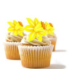 ✿ 24 Edible Rice Paper Cup Cake Toppings, Cake decs - Daffodil ✿