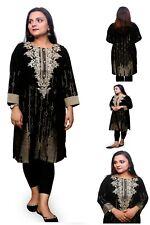 Women Indian Black Jacquard Tilla Embroidery Kurti Tunic Kurta Party Shirt Dress
