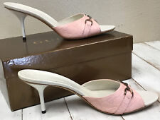 Gucci GG Guccissima Leather Begonia Rose Size 11 Stiletto heel sandals Italy