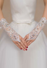 Gants Mitaines Longs Rosaces Strass Mariage Opéra