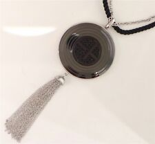 EMPORIO ARMANI Black Ceramic EA Logo Pendant Long Necklace EGS1460