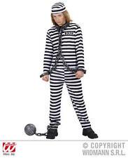 Childrens Black White Convict Fancy Dress Costume Halloween Prisoner Outfit 140C