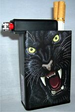 Black Panther Cigarette Case Animal With Lighter Holder Compartment