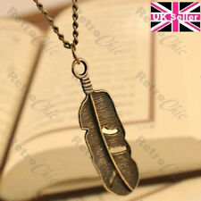 "BIG METAL FEATHER charm pendant NECKLACE 27""long chain ETHNIC BOHO vintage brass"