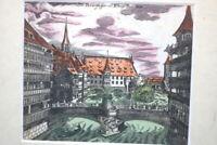 Kupferstich altkoloriert Nürnberg Die Baarfüsser Brücke um 1750