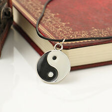 vintage Boho YIN AND YANG Black Leather Cord Choker Charm Necklace Pendant HS0