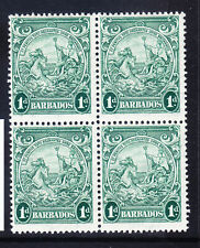 BARBADOS 1942 SG249b 1d blue-green - watermark Script - block of 4 u/m. Cat £20