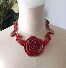 Oscar De La Renta Red Rose Necklace