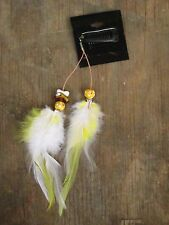 HANDMADE USA Feather Hair Extensions ONE OF KIND clip Yellow White Wood Flower