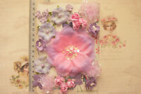 LAVENDER & PINK Mix - 24 PAPER & Fabric Flowers 7 Styles 15-90mm across MH VE4