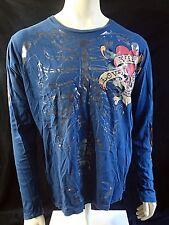Don Ed Hardy Skeleton Shirt Long Sleeve Love Kills Slowly Blue Large L