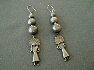 Old Southwestern Native American Sterling Silver Bead Earrings w/ Kachina Dangle