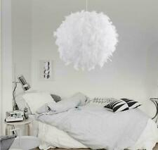 Home Bedroom Romantic Feather Ceiling Pendant Droplight Parlor Hanging Lamp