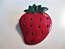 Strawberry Brooch 1-3/4X2-1/4 In.� �Jewelry Garage Sale!� Delicious Lucite