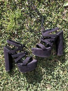 Womens Boohoo Black Suede Platform Tie Up Heels Size 6