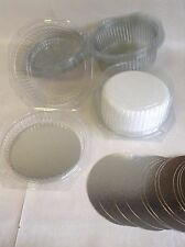 "5 x CLEAR DISPOSABLE CAKE DOMES boxes PLUS 5 x 8"" silver cake cards"