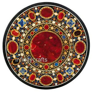 42 x 42 Inches Heritage Art Inlaid Patio Dining Table Round Garden Table Top