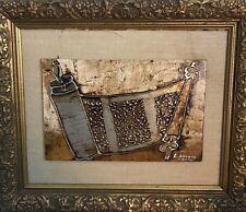 Vintage Judaica Hebrew Torah Scroll Bronze Engraving by L. Kovacs Kasni