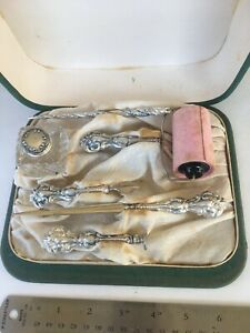 Antique Travel Set, Sterling Pieces with Box, Lint Roller, Nail Tools, and More